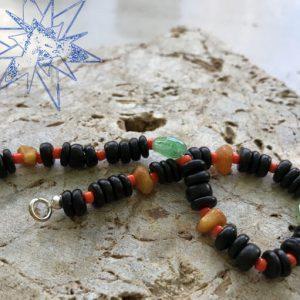 Krystalklar armbånd med aventurin og rav