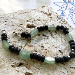 Krystalklar armbånd med grøn aventurin