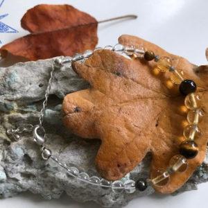 Diamant armbånd med ægte citrin, tigerøje, pyrit og bjergkrystal.