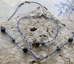 Krystalklar sølv smykke armbånd med bjergkrystal, shungit, Hæmatit, Pyrit, Onyx og Sodalit.