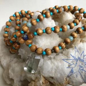 Klorit krystal mala halskæde med amazonit, sodlait og pyrit